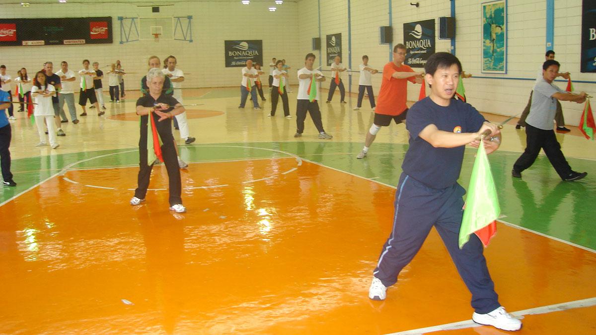 Mestre Yang Jun ensinando movimentos da Forma Sabre Tai Chi