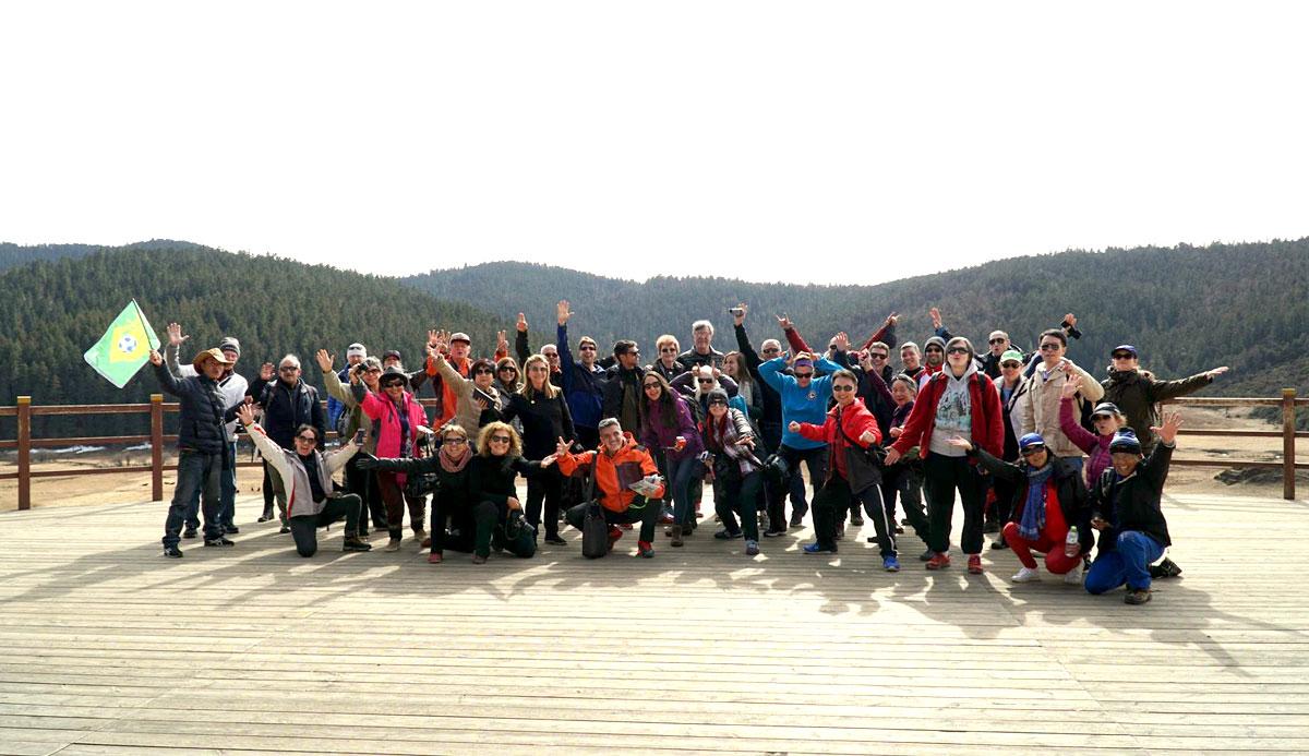 Nosso grupo visitando o Parque Nacional Potatso, na Província de Yunnan