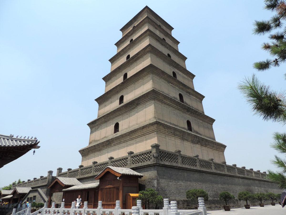 Pagoda Goose no complexo de Templos da Dinastia Tang na cidade de Xian. Declarado patrimônio cultural e arquitetônico